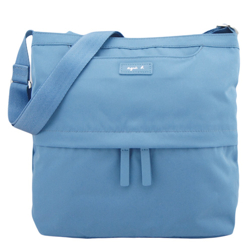 agnes b. VOYAGE尼龍皮標前口袋方型斜背包(小/天藍)