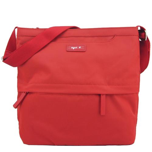 agnes b. VOYAGE尼龍皮標前口袋方型斜背包(小/紅)