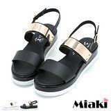 【Miaki】MIT 涼鞋金屬韓版厚底露趾涼拖 (白色 / 黑色)