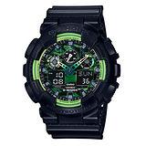 CASIO 卡西歐 G-SHOCK 雙顯夏日迷彩運動時尚腕錶-GA-100LY-1A