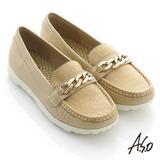 【A.S.O】輕量休閒 全真皮壓紋金屬釦休閒平底鞋(卡其)