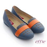 【effie】活力勁步 全真皮雷射圖紋奈米平底鞋(藍)