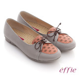 【effie】活力勁步 全牛皮格紋綁帶休閒平底鞋(灰)