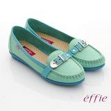 【effie】輕量樂活 真皮寬楦配色奈米平底鞋(蒂芬妮綠)