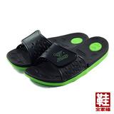 (男) JUMP 套式拖鞋 黑綠 鞋全家福