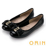 ORIN 甜美輕柔 立體雙織帶蝴蝶結牛皮娃娃鞋-黑色