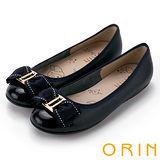 ORIN 甜美輕柔 立體雙織帶蝴蝶結牛皮娃娃鞋-深藍