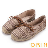 ORIN 玩味圖騰 異國風麻編鞋帶平底便鞋-咖啡