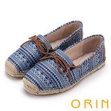 ORIN 玩味圖騰 異國風麻編鞋帶平底便鞋-藍色