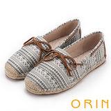 ORIN 玩味圖騰 異國風麻編鞋帶平底便鞋-灰色