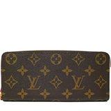Louis Vuitton LV M42119 Clemence 經典花紋拉鍊長夾.桃紅 預購