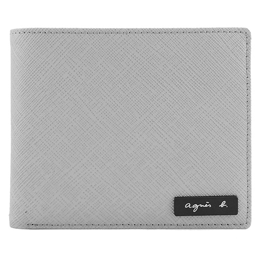 agnes b VOYAGE 鐵牌雙色防刮短夾(零錢袋/灰黃)