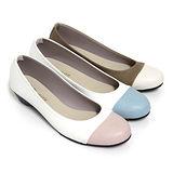 【Pretty】法式雙色圓頭低跟娃娃鞋