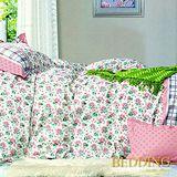 【BEDDING】花雨戀情 100%棉雙人床包枕套三件式