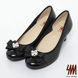 SM-台灣製真皮系列-珍珠蝴蝶結漆皮跟鞋-黑色