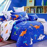 【恐龍樂園】雙人純棉四件式涼被床包組