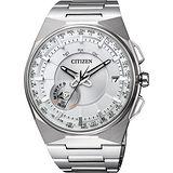 CITIZEN 衝鋒衛星對時鈦光動能旗艦腕錶-白x銀/45mm CC2001-57A