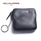 CUMAR 時尚紳士義大利牛皮-方形零錢/鑰匙包-黑色