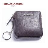 CUMAR 時尚紳士義大利牛皮-方形零錢/鑰匙包-咖啡色