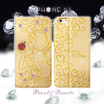迪士尼授權正版格林童話 iPhone 6/6s 4.7吋 時尚貼鑽浮雕皮套(白雪公主)
