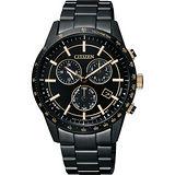CITIZEN 光動能爵士計時腕錶-黑/40mm BL5495-56F