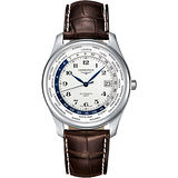 LONGINES 浪琴表巨擘系列世界時區腕錶-白x咖啡色錶帶/42mm L28024703