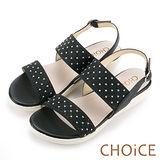 CHOiCE 舒適甜美 牛皮異材質拼接燙鑽涼鞋-黑色