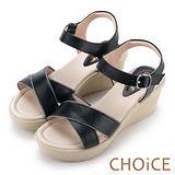 CHOiCE 簡約時尚舒適 寬版交叉牛皮縫線楔型涼鞋-黑色