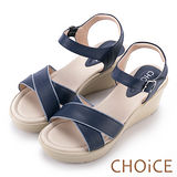 CHOiCE 簡約時尚舒適 寬版交叉牛皮縫線楔型涼鞋-藍色