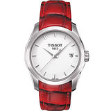 TISSOT Couturier Lady 建構師系列 極簡魅力時尚腕錶(熱情紅) T0352101601101