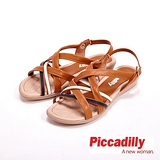 Piccadilly 交叉設計環扣式流行露齒涼鞋女鞋 棕(另有黑)
