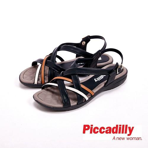 Piccadilly 交叉設計環扣式流行露齒涼鞋女鞋 黑(另有棕)