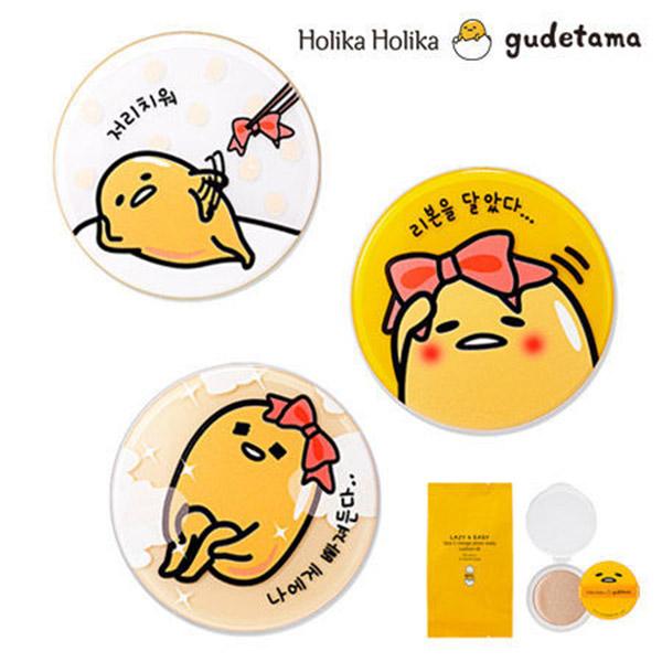 【4色選】韓國 Holika Holika X Gudetama 蛋黃哥 6合1 柔潤無暇舒芙蕾1+1氣墊粉餅組合(15g*2)