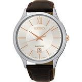 SEIKO 城市簡約美學時尚腕錶-玫瑰金時標x咖啡/42mm 7N42-0GG0K(SGEH55P1)