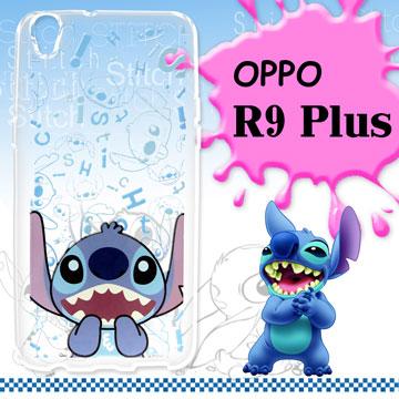 迪士尼授權正版 OPPO R9 Plus 6吋 大頭系列透明手機軟殼(摀嘴史迪奇)