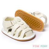 【Pink Pony】純色透氣學步膠底涼鞋 米