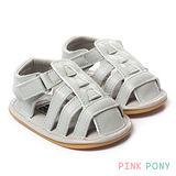 【Pink Pony】純色透氣學步膠底涼鞋 灰