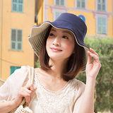 日本sunfamily 抗UV可折疊兩面防曬帽(藍/米 )