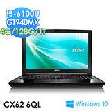 msi微星 CX62 6QL-011TW i3-6100U GT940MX WIN10 筆電
