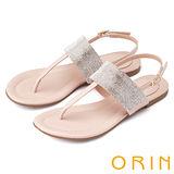 ORIN 耀眼時尚 寬版閃亮排鑽真皮平底涼鞋-粉紅