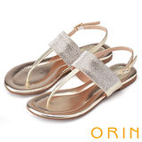 ORIN 耀眼時尚 寬版閃亮排鑽真皮平底涼鞋-金色
