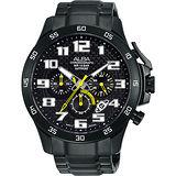 ALBA 極速快車手三眼計時腕錶-IP黑x黃/46mm VD53-X174SD(AT3727X1)