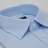 【金安德森】藍色粗細條紋變化領窄版短袖襯衫