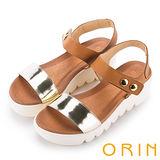 ORIN 時尚焦點 全真皮金屬圓釦厚底涼鞋-金色