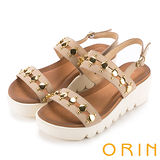 ORIN 時尚焦點 嚴選牛皮圓形金屬排列厚底涼鞋-米色