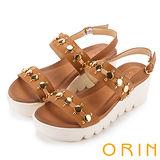 ORIN 時尚焦點 嚴選牛皮圓形金屬排列厚底涼鞋-棕色