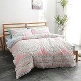 美夢元素 台灣製精梳棉 雙人加大四件式 兩用被床包組-花邊教主