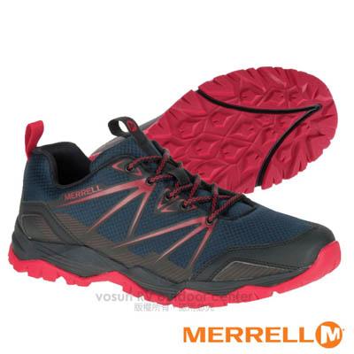 【美國 MERRELL】男新款 CAPRA RISE 專業輕量化避震透氣健行鞋(抗菌防臭鞋墊 耐磨) GRIP鞋底.適登山 行走 深藍 ML35839