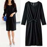 日本Portcros 預購-簡約前綁結皺褶連身洋裝