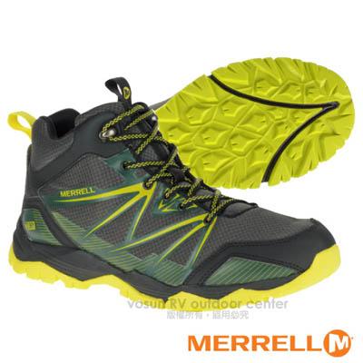 【美國 MERRELL】男新款 CAPRA RISE MID WATERPROOF 專業多功能防水透氣中筒健行鞋(抗菌防臭鞋墊 耐磨) GRIP鞋底.適登山 灰/綠 ML35729